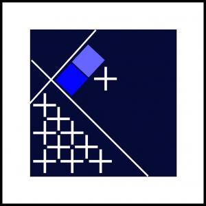 Kryds og kvadrater, blå