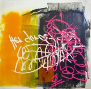 Trykning med figur af skrift, to farver
